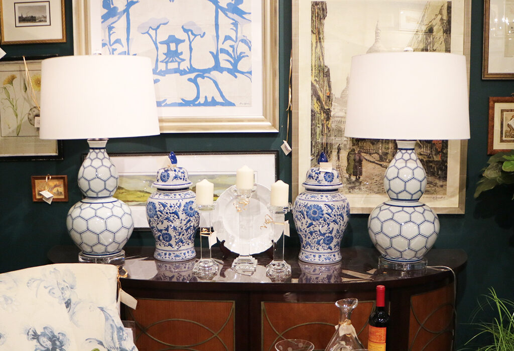 Lamps can be art also.  Don't shy away from uniquely shaped lamps that add dimension to an otherwise classic tabletop.