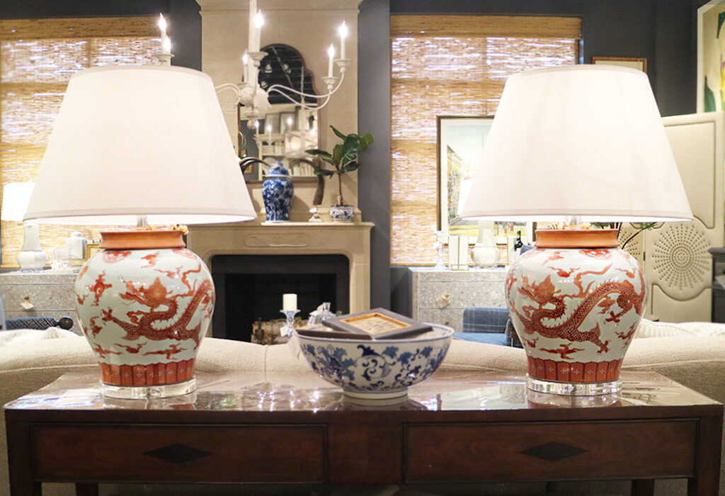 The detail on these burnt orange dragon lamps is impressive.  They make for a striking table display with little else added.